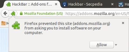 Allowing Firefox To Install Hackbar Add-on